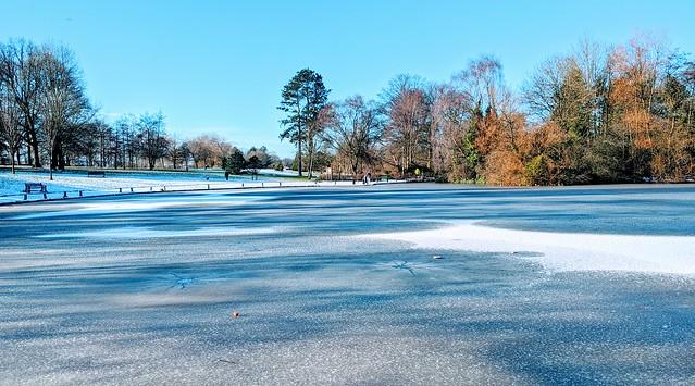 Frozen lake at Haslam Park, Preston, Lancashire