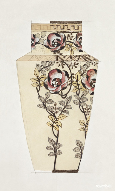 Design for a Vase (1880-1910) painting in high resolution by Noritake Factory. Original from The Smithsonian Institution. Digitally enhanced by rawpixel.