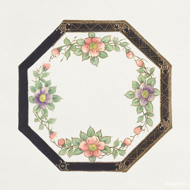 Design for an Octagonal Plate (1880-1910) painting in high resolution by Noritake Factory. Original from The Smithsonian Institution. Digitally enhanced by rawpixel.