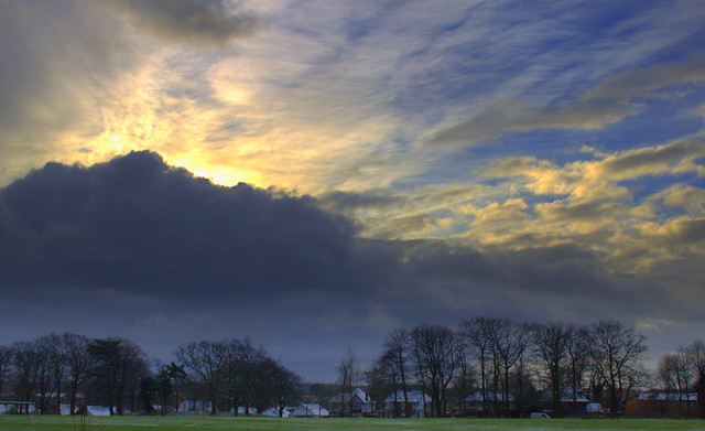 Sun through the clouds on a chilly afternoon in Preston