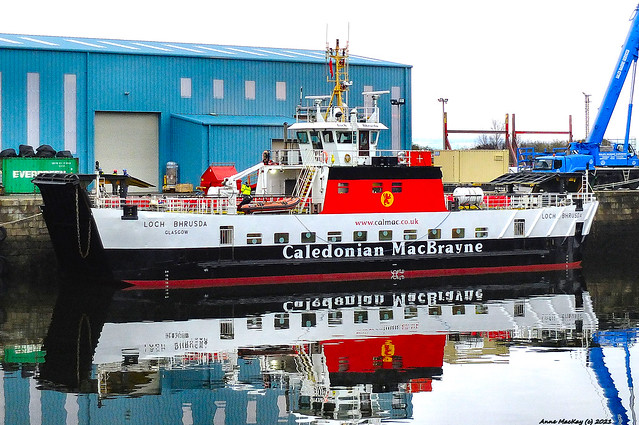 Scotland Greenock in the repair dock the car ferry Loch Bhrusda 20 January 2021 by Anne MacKay