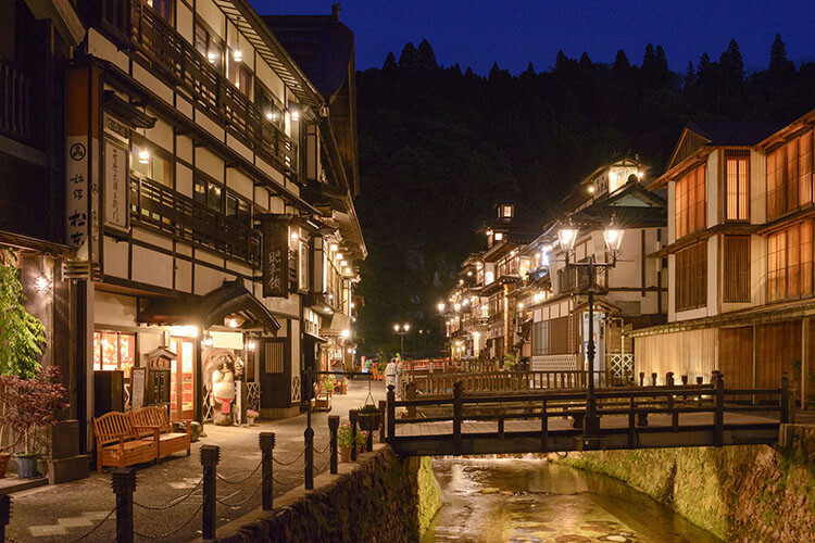 Ginzan Onsen town when night falls