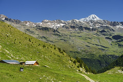 Passo Gavia, mountain pass in Lombardy, Italy, at summer