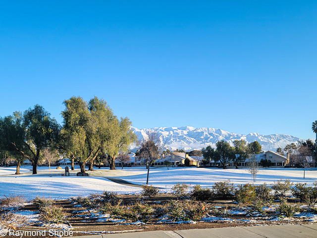 Snow on the golf course, Sun Lakes Country Club, Banning California