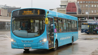 Arriva North East Stockton Based Wright Pulsar 2 1410 Leaves Middlesbrough Bus Station operating a 9 to Overfields