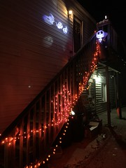 The Nightmare Before Christmas Jack Skellington and pumpkin orange string lights Halloween decorations in Sleepy Hollow of the Hudson Valley region of New York State USA 2020