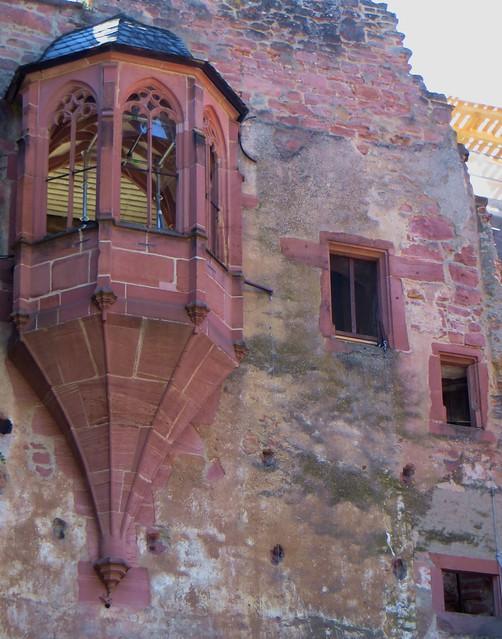 Oriel, cour du château des électeurs palatins, Heidelberg, Bade-Wurtemberg, République fédérale d'Allemagne.