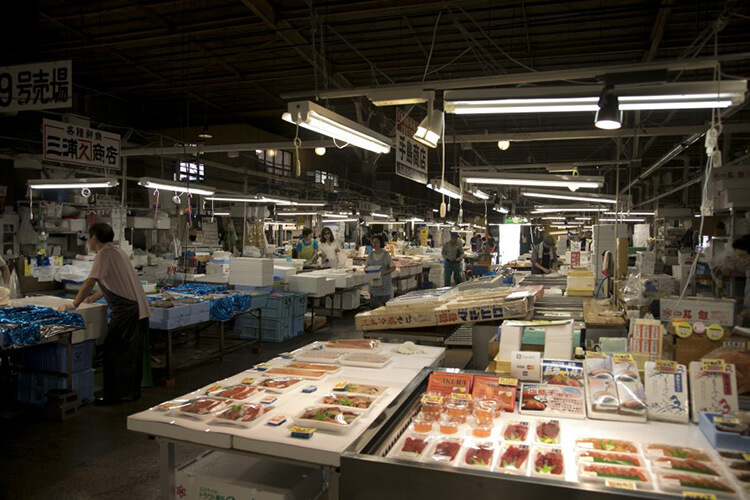 Rows of stalls selling fresh seasonal fish