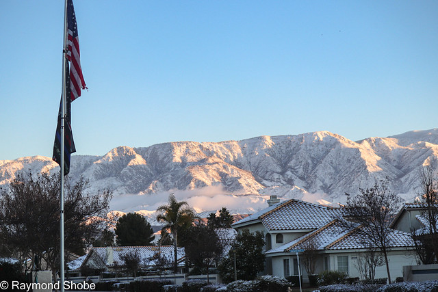 SNow covered mountains after sunrise, Banning California.