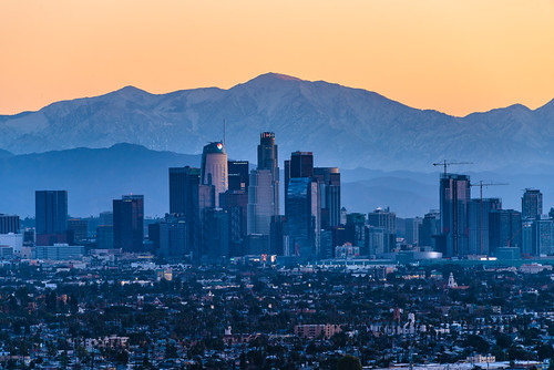 Downtown Los Angeles with Snowy San Gabriel Mountains