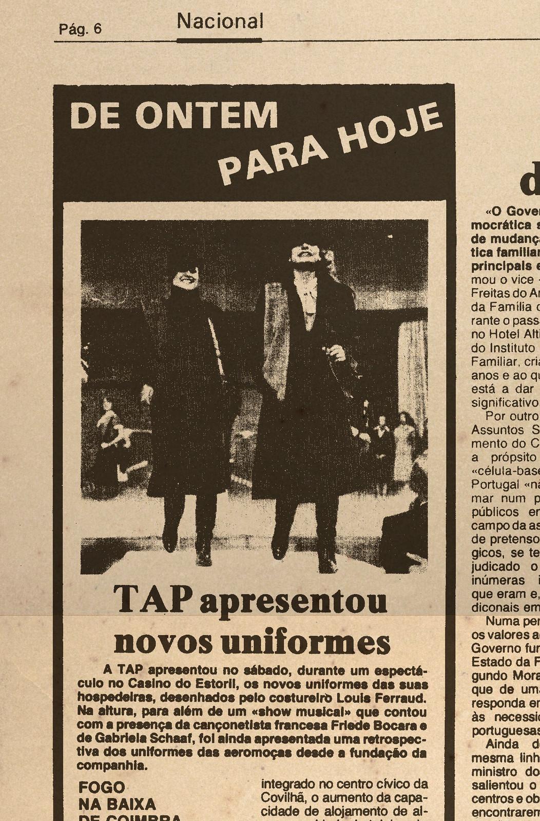 TAP apresentou novos uniformes (Diário de Lisboa, 28/I/1980)