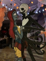 The Nightmare Before Christmas Sally and Jack Skellington painting Halloween decorations in The Legend of Sleepy Hollow Hudson Valley region of New York state USA October 2020