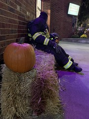 The Legend of Sleepy Hollow The Headless Horseman by author Washington Irving The Headless Firefighter Halloween decorations at the Sleepy Hollow Volunteer Fire Department Central Station 28 Beekman Ave, Sleepy Hollow, NY 10591 Hudson Valley region of New