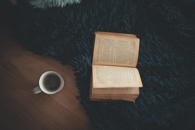 Coffe and old book from above. VIntage concept.