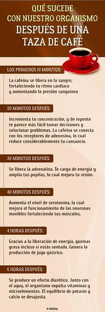Efectos de la cafeína después de tomar un café