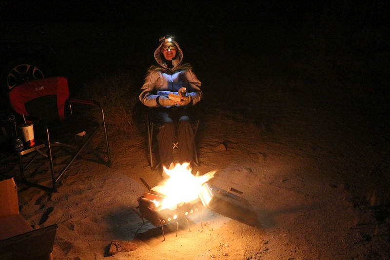 We brought our own firewood and an old barbeque to burn it in, then sat and enjoyed the campfire in Painted Canyon