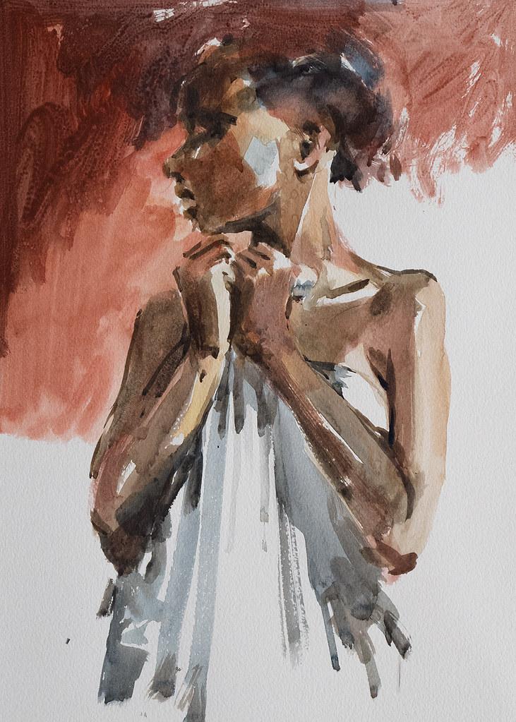 Portrait study, watercolour