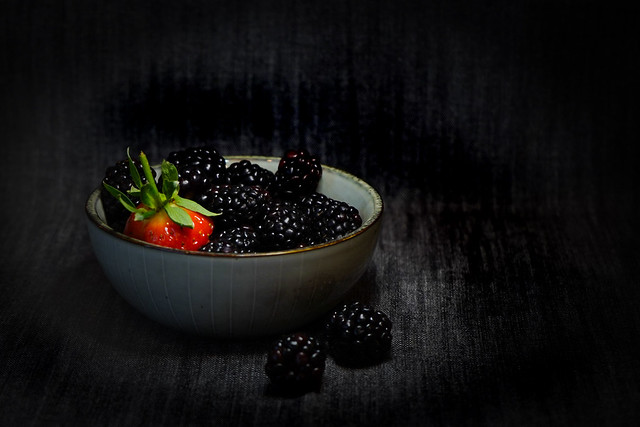 Blackberries and a stray strawberry