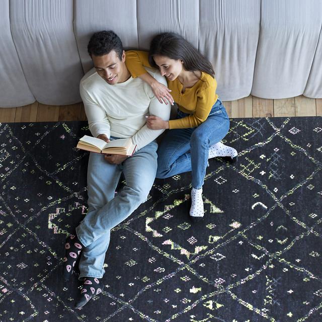 Luxury Moroc Beni Traditional Geometric Knotted Navy/Multi Area Rug Carpet