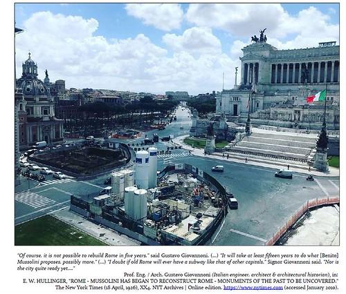 """ROMA ARCHEOLOGICA & RESTAURO ARCHITETTURA 2021: Il crac di Roma Metropolitane: """"Da aprile stop linee A, B e C.""""  La Repubblica (25/01/2021). Foto: Ms. Rachele Mussolini / Fb (07 Sept. 2019). S.v., Prof. Eng. / Arch. G. Giovannoni, in: NYT (18/04/1927)."""