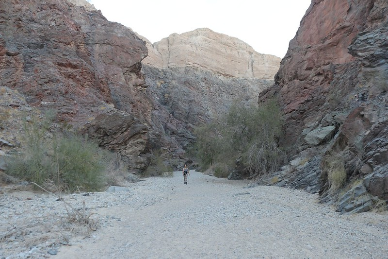 Heading downhill in Painted Canyon with plenty of colorful exposed stone