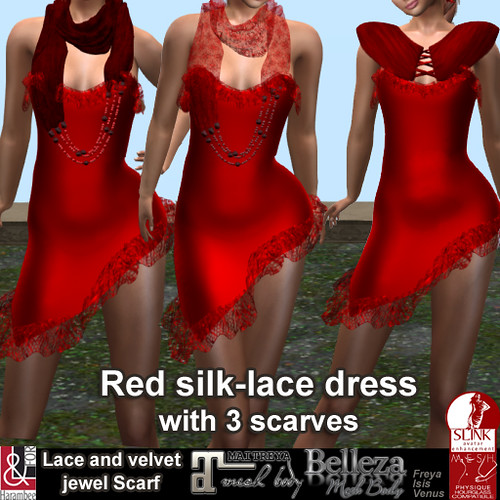Red silk-lace dress with scarves