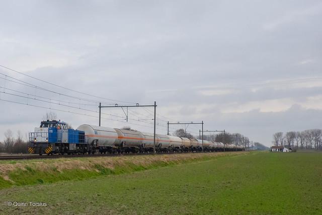 RTB V155 met ketelwagens onderweg naar Sloe, 23 januari 2021