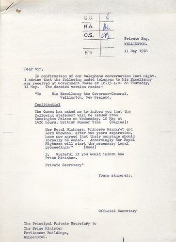 Letter to New Zealand Prime Minister announcing the divorce of Princess Margaret and Antony Armstrong Jones, 1978 | by Archives New Zealand