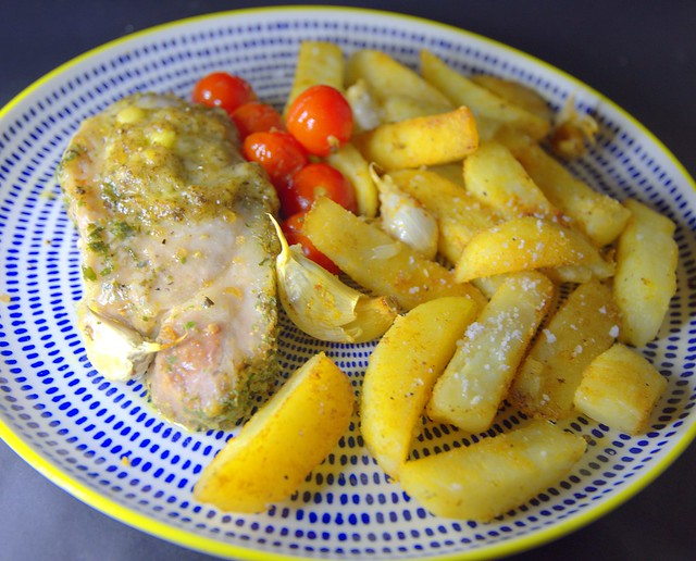 Garlic Pork Chop with Triple Cooked Chips