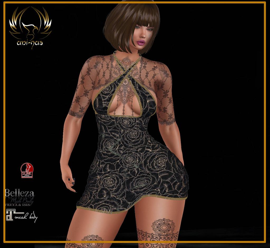 Uni-qu3 black-rosa dress s