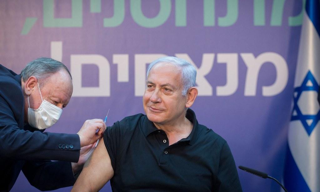 以色列總理納坦雅胡放下豪語要在兩個月內達成「全民接種疫苗」的目標。(圖片來源:Xinhua/Rex/Shutterstock)