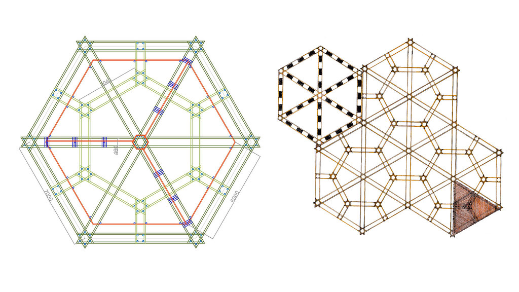 Structural drawings showing the hexagonal bamboo structure layouts.