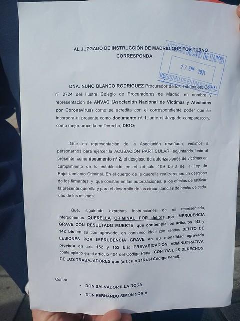 QUERELLA CRIMINAL A SALVADOR ILLA Y FERNANDO SIMON