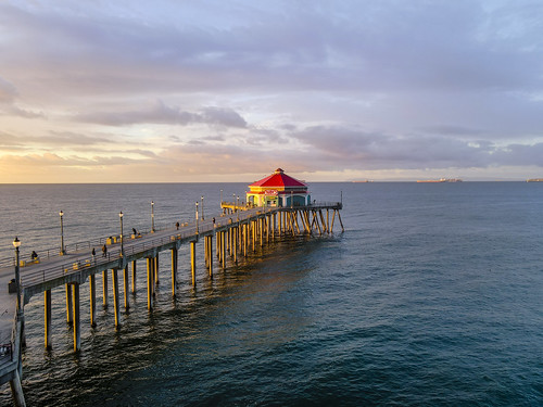 sunrise surfcityusa beach drone ktla ktlamorningnews mavicair2 pacific pier huntingtonbeach california unitedstates ocwanderlust rubys