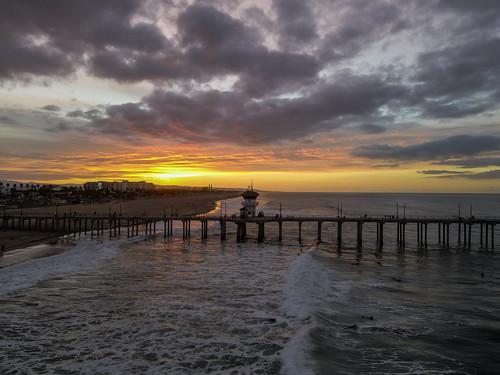 sunrise surfcityusa beach drone ktla ktlamorningnews mavicair2 pacific pier ocwanderlust huntingtonbeach california unitedstates clouds dawn water