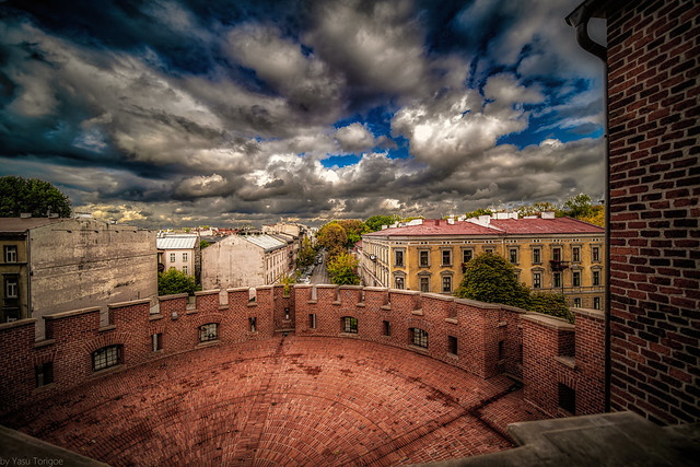 View down the Straszewskiego St of Krakow Old Town from Wawel Royal Castle from the round outer wall structure, Poland.  773-Edit-2a