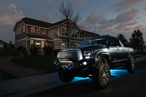 truck carphotography sunset automotive headlights chrome toyota lifted