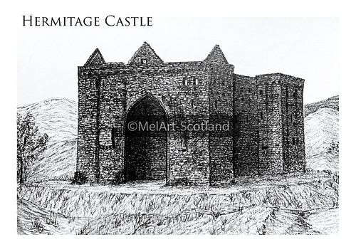 Hermitage Castle. From Artist Spotlight: Melanie Whitson, MelArt Scotland