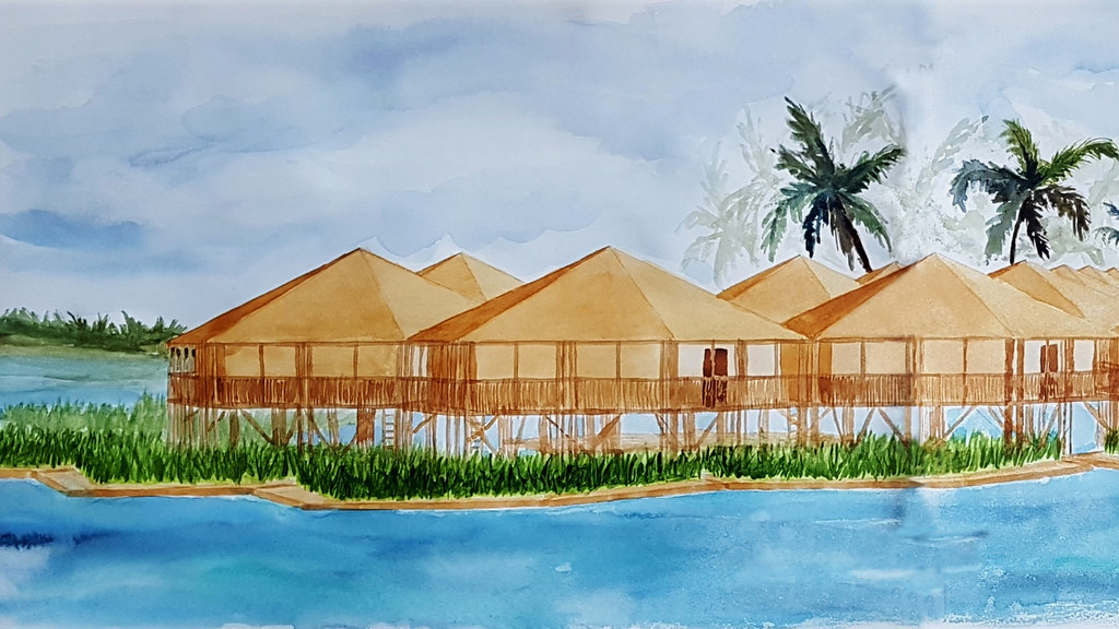 An artist's impression using water colours of hexagonal bamboo structures along a waterfront.