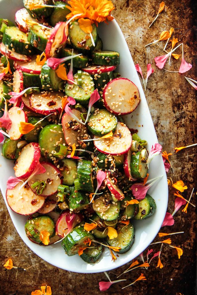Crunchy sesame chili cucumber and radish salad from HeatherChristo.com