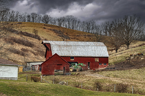 barn cows farm redbarn winter clouds landscape nikon cattle wv d800 monroecounty bobbell wetvirginia lindside tractor johndeere endloader hay hayfork crib corncrib