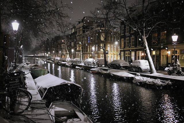 Silent snowflakes fall in Amsterdam