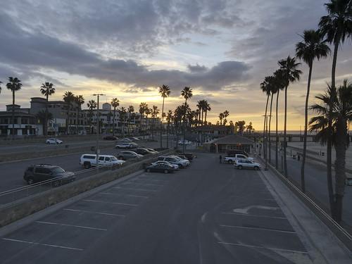 sunrise surfcityusa beach drone ktla ktlamorningnews mavicair2 pacific pier huntingtonbeach california unitedstates ocwanderlust palm trees
