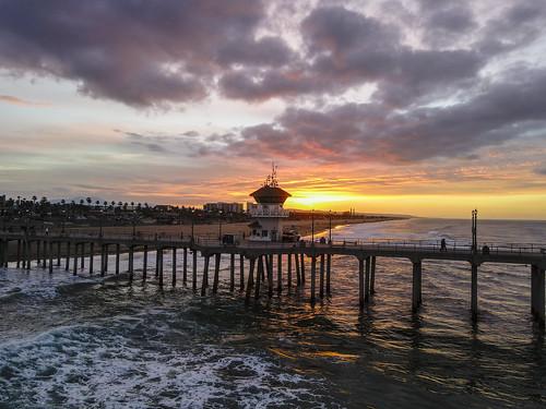 sunrise surfcityusa beach drone ktla ktlamorningnews mavicair2 pacific pier ocwanderlust huntingtonbeach california unitedstates water