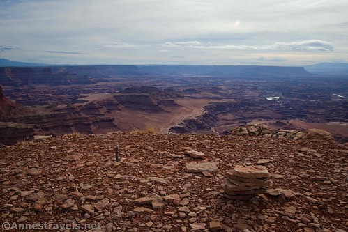 The cairn marking the Lathrop Point Overlook, Canyonlands National Park, Utah