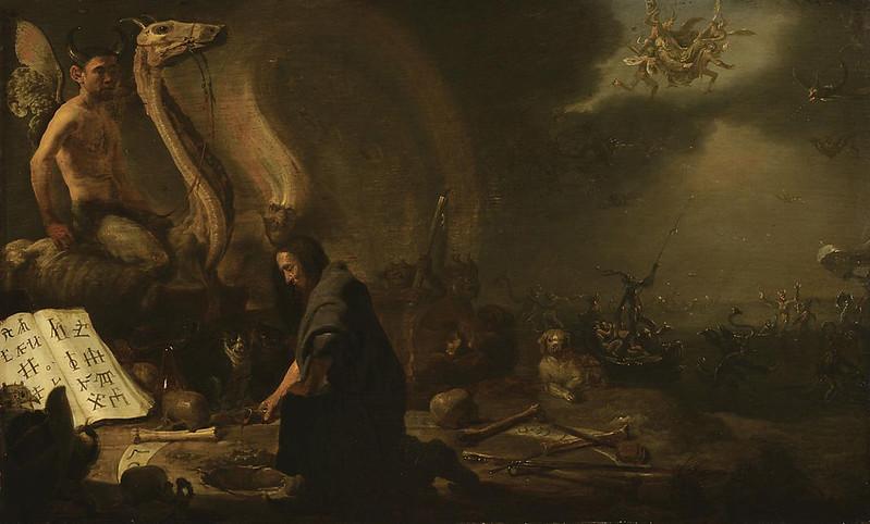 Cornelis Saftleven - Witchcraft scene with Saint Anthony on the Sabbath, 17th C