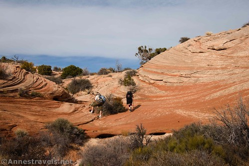 Hiking back up the Lathrop Trail between the rock formations, Canyonlands National Park, Utah
