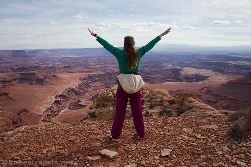 Enjoying the views at the Lathrop Point Overlook, Canyonlands National Park, Utah