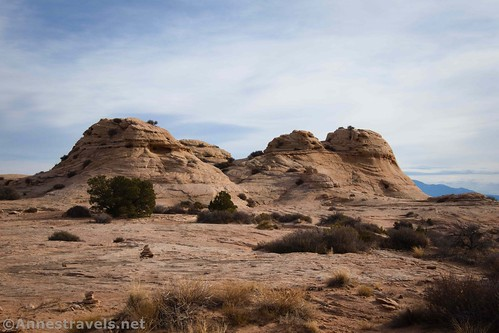 Rock formations along the slickrock section of the Lathrop Trail, Canyonlands National Park, Utah