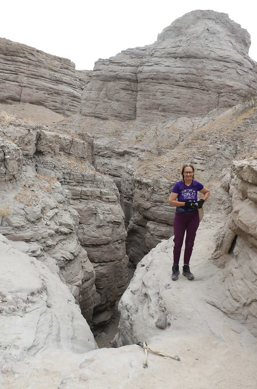 Standing at the top of the difficult rope in Rope Canyon - the hard part of the slot canyon was over!